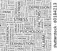 STRESS. Seamless vector pattern with word cloud. Illustration with different association terms. - stock photo
