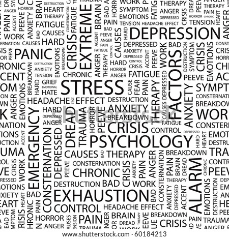 STRESS. Seamless vector pattern with word cloud. Illustration with different association terms. - stock vector