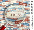 STRESS. Seamless vector pattern. Word collage. Vector illustration. - stock photo