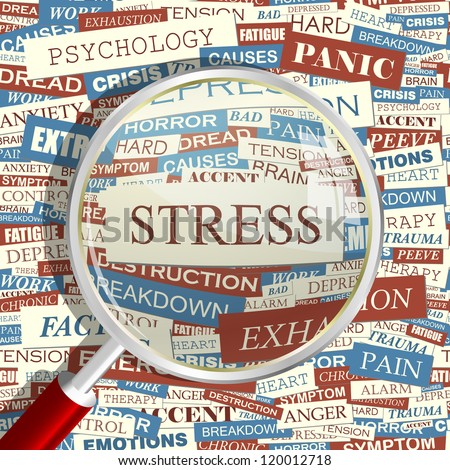 STRESS. Seamless vector pattern. Word collage. Vector illustration. - stock vector