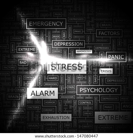 STRESS. Word cloud concept illustration. Graphic tag collection. Wordcloud collage with related tags and terms.
