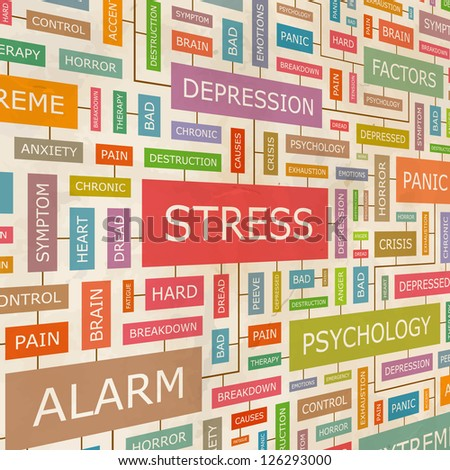 STRESS. Word collage. Vector illustration.