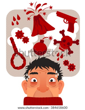 stressed anxious man thinking fearful thoughts - stock vector
