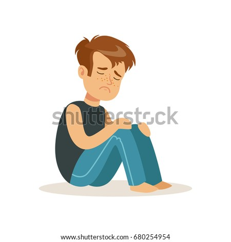 Stressed boy character sitting on tha floor vector Illustration
