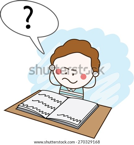 Stressed boy student - stock vector