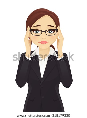 Stressed business woman - stock vector