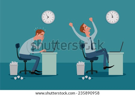 Stressed businessman on laptop computer working with pressure, and be happy. - stock vector