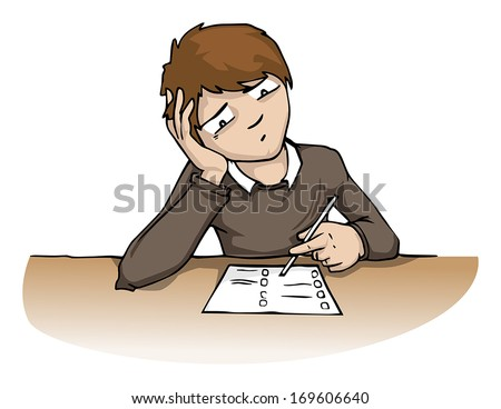 Stressed young man at the exam, vector illustration - stock vector