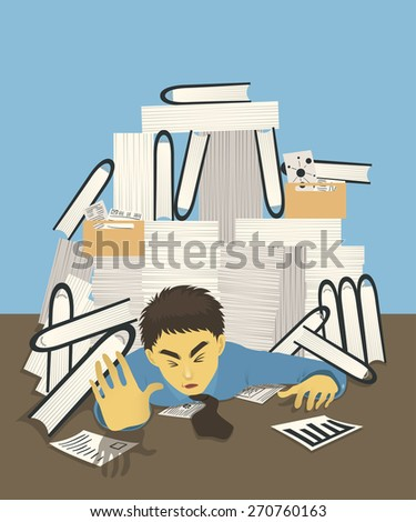 stressful businessman with too many document files