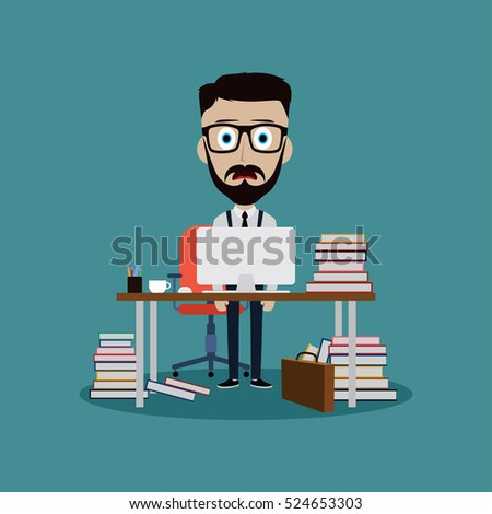 stressful businessman working behind office desk vector art