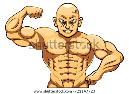 Strict coach bodybuilding and fitness. Vector illustration