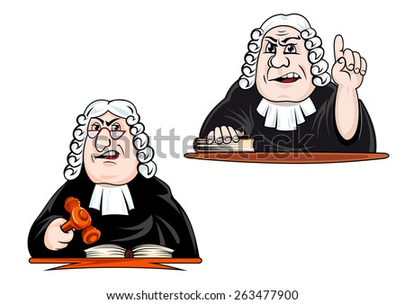 Strict judge cartoon characters in wig, glasses and mantle holding gavel and pointing upward for law and justice concept design - stock vector