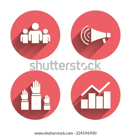 Strike group of people icon. Megaphone loudspeaker sign. Election or voting symbol. Hands raised up. Pink circles flat buttons with shadow. Vector - stock vector