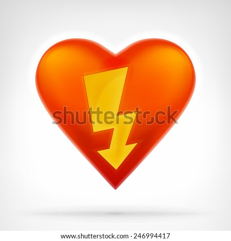 strike power bolt to heart symbol at modern graphic design isolated vector illustration on white background