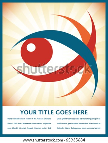 Striking eye design with text space. - stock vector