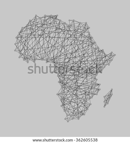 String art ( nail and yarn ) design africa map - gray and black color. Cartography concept, map in shape of Africa continent. vector image illustration, isolated on grey background, eps10 - stock vector