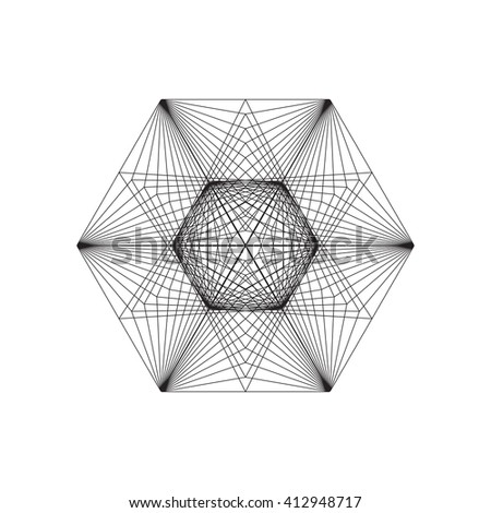 String art. Sacred geometry.White background. Stock vector.