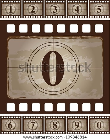 Strip  of vintage film  with a zero vector illustration - stock vector