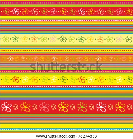 strip pattern. vector floral background - stock vector
