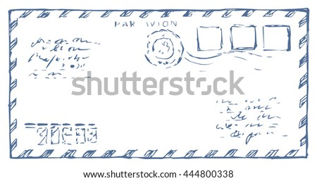 Stripe envelope isolated on white backdrop. Freehand outline ink hand drawn picture sketchy in art scribble retro graphic style. Closeup front view with space for text - stock vector