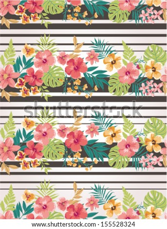 stripe mix tropical flower seamless vector pattern background - stock vector