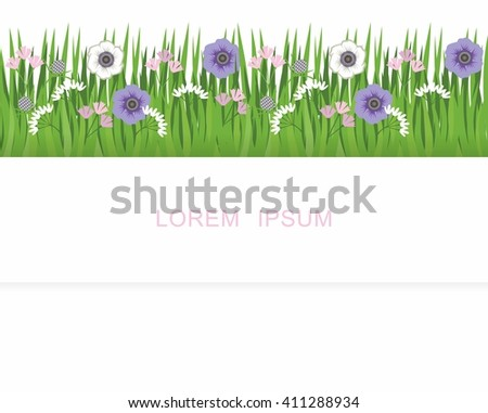 Stripe of grass, grass and flowers. Pattern for a banner with grass and flowers - stock vector