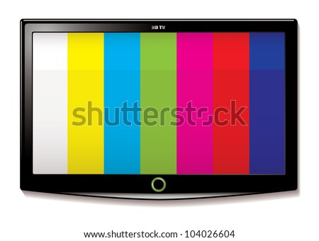Stripe test screen on modern LCD television mounted on wall - stock vector