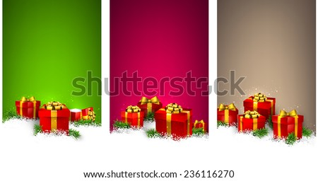 Stripe vertical christmas banners with fir branches and realistic gift boxes. Vector illustration.   - stock vector