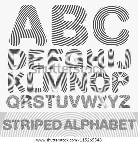 Striped alphabet. black and white version. Vector - stock vector