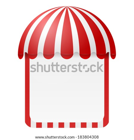 Striped awning with space for text - stock vector