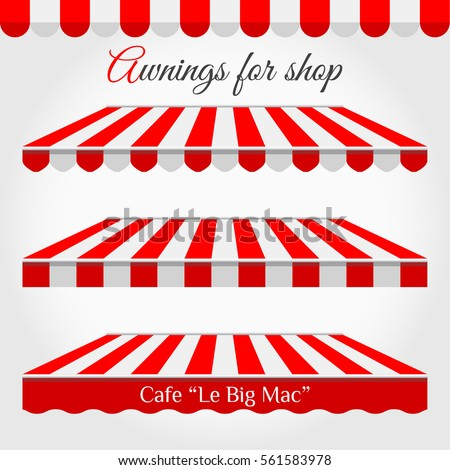 Striped Awnings for Shop in different forms. Red and White Awning with s&le text.  sc 1 st  Shutterstock & Awning Stock Images Royalty-Free Images u0026 Vectors | Shutterstock