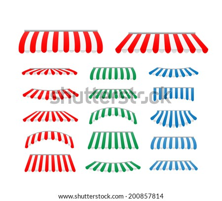 Striped awnings set, vector illustration - stock vector