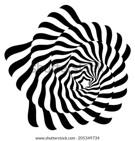 Striped black- white abstraction. - stock vector