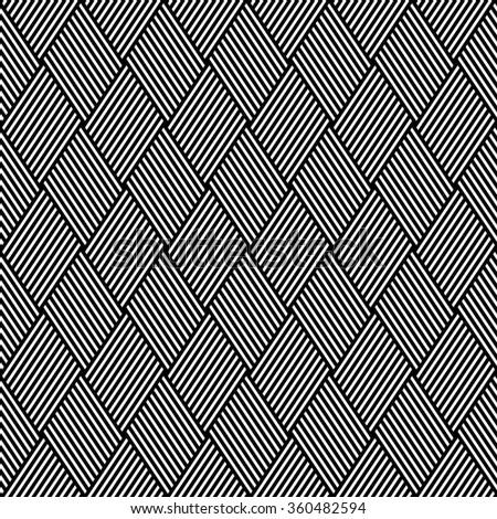 Striped diamonds pattern. Seamless geometric texture. Vector art. - stock vector