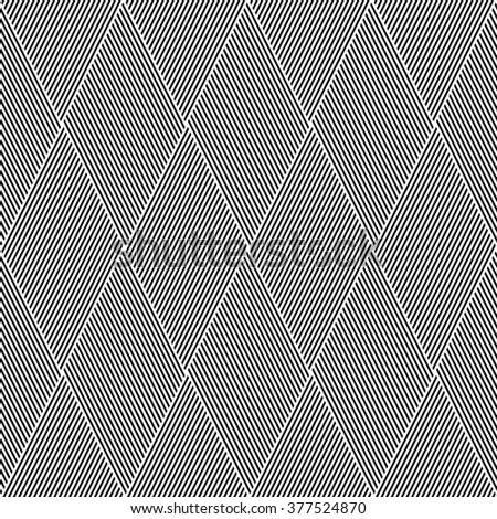 Striped diamonds pattern. Seamless lines texture. Vector art. - stock vector