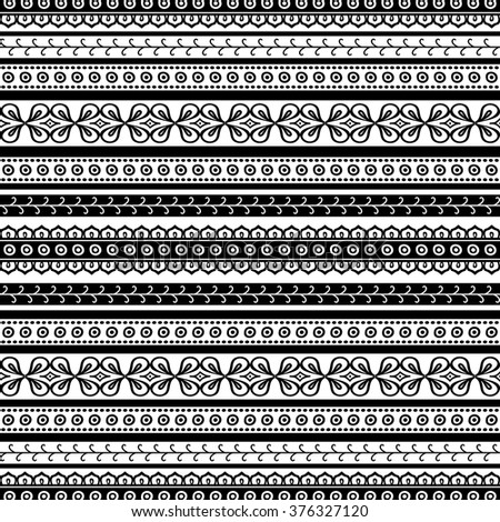 Striped doodle seamless pattern in black and white