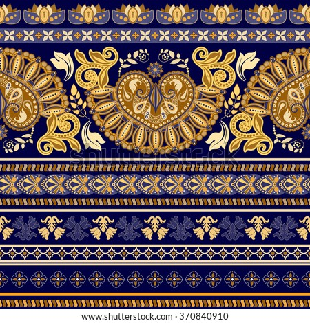 Striped egyptian seamless pattern. Colorful floral ornamental wallpaper - stock vector