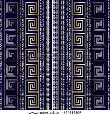 Striped Geometric Greek Seamless Pattern Border