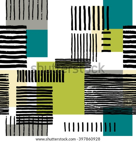 Striped geometric seamless pattern. Hand drawn uneven black stripes on colorful rectangles, free layout. Blue, grey, beige and green tones. Textile design. - stock vector