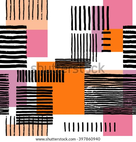 Striped geometric seamless pattern. Hand drawn uneven black stripes on colorful rectangles, free layout. Pink and orange tones. Textile design. - stock vector