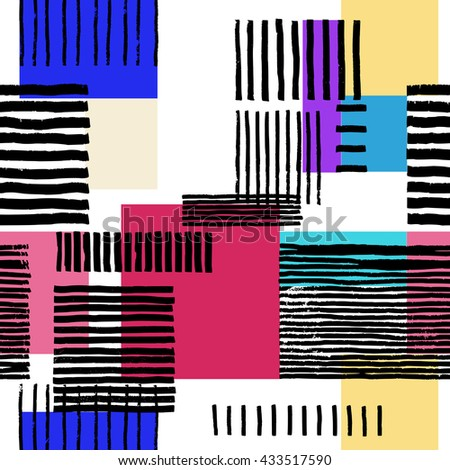Striped geometric seamless pattern. Hand drawn uneven black stripes on colorful rectangles, free layout. Vibrant spectral tones. Textile design. - stock vector