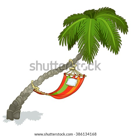 Striped hammock hanging on palm tree. Vector illustration. - stock vector