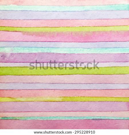 Striped hand drawn watercolor background. Handmade watercolor design element. Vector version. Red, green, blue colors. Watercolor composition for scrapbook elements or print.