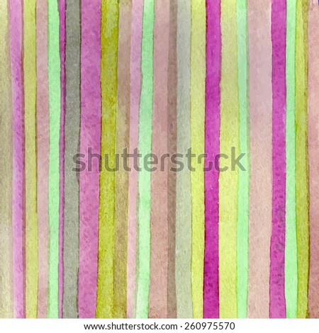 Striped hand drawn watercolor background. Vector version. Hand drawn technique. Watercolor composition for scrapbook elements or print. - stock vector
