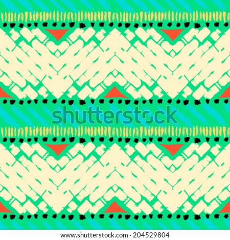 Striped hand painted vector seamless pattern with ethnic and tribal motifs, zigzag lines and triangles in multiple bright colors for summer fall fashion - stock vector