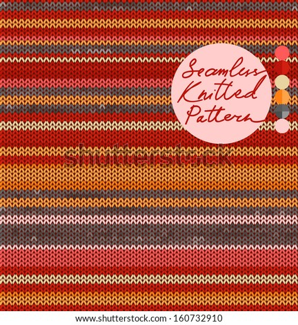 Striped Knit Seamless Pattern with warm colors, vector illustration - stock vector