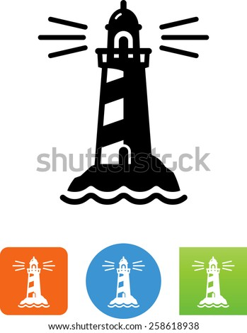 Striped lighthouse with beacon. Vector icons for video, mobile apps, Web sites and print projects. - stock vector