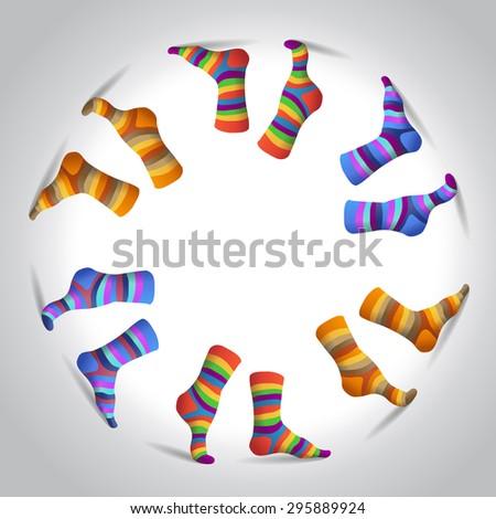 Striped multicolor socks in a circle, illustration - stock vector