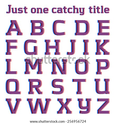 Striped optical illusion catchy font, part 1/3 CAPS - stock vector