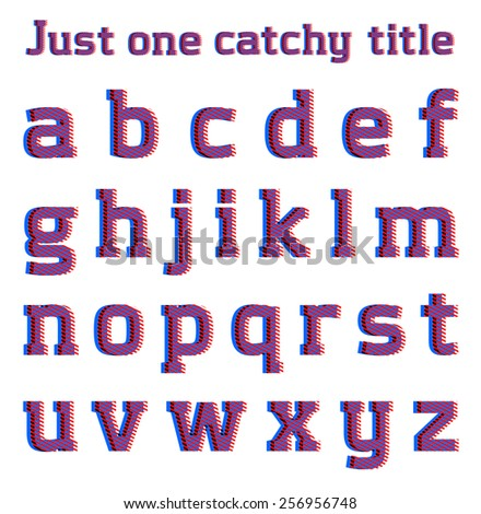 Striped optical illusion catchy font, part 2/3 small letters - stock vector